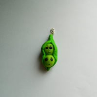 Peas in a pod handmade charm made in Polymer Clay