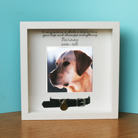 Personalised White photo frame for pet dog memorial, bereavement, remembrerance