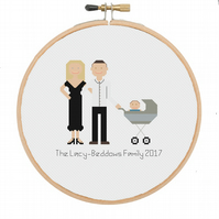 Personalised Family Portrait Cross Stitch, Custom Made Portrait of 2 People