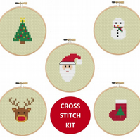 Set of 5 Christmas Cross Stitch Kits, Santa, Tree, Snowman, Rudolph, Stocking