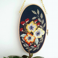 "Floral Series 2 - 7"" Oval Embroidery Hoop"