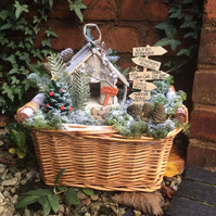 Christmas Fairy Garden Basket, Fairy House, Signpost, Christmas Tree