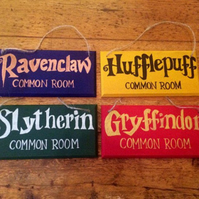 Harry Potter Common Room Sign, Gryffindor, Ravenclaw, Hufflepuff, Slytherin