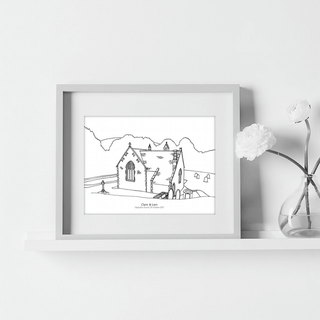 Personalised Wedding Venue Portrait - Black & White