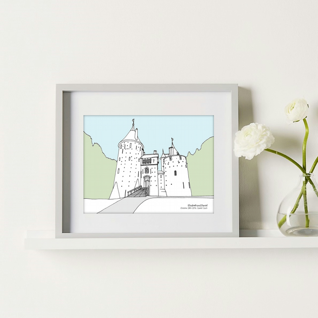 Personalised Wedding Venue Portrait - Natural