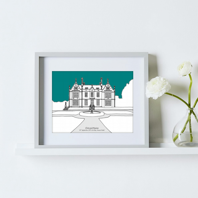 Personalised Wedding Venue Portrait - Teal