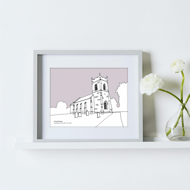 Personalised Wedding Venue Portrait - 10 colours available