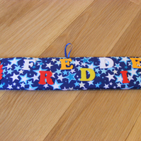 Personalised Large Padded Door Name Plate Door Plaque Kit Blue Stars Fabric