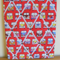 Handmade Fabric Memo Board in Red Camper Van, with White Elastic Straps