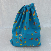 Large Lined Drawstring Bag in Blue Space Cotton Laundry Bag Kit Bag