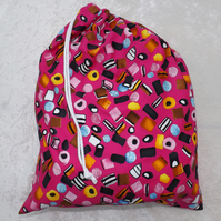Large Lined Drawstring Bag in Pink Liquorice Cotton Laundry Bag Kit Bag