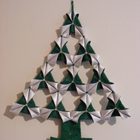 SALE Handmade Large Fabric Origami Christmas Tree Wall hanging in Green & Cream