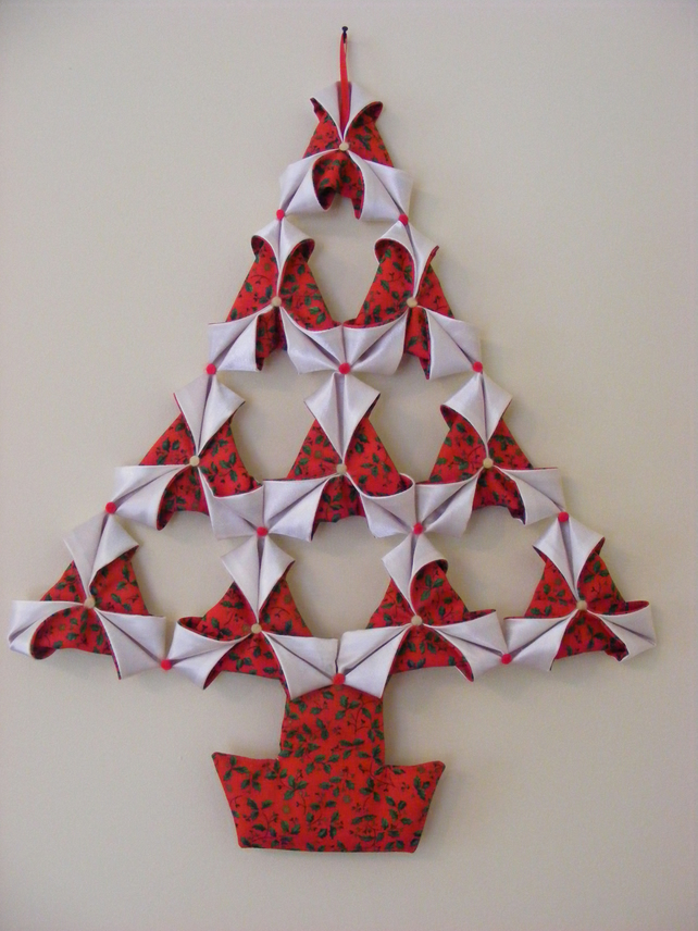 Handmade Large Fabric Origami Christmas Tree Wall Hanging In Red Cream