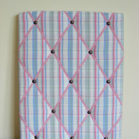 Handmade Memo Board in Cath Kidston Country Check Fabric, Pink Elastic Straps