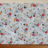 Handmade Memo Board in Cath Kidston Clifton Rose Fabric, White Elastic Straps