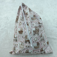 Large Lined Drawstring Bag in Baby Pink Pram Laundry Bag Baby Bag