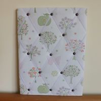 Handmade Laura Ashley Esme Fabric Memo Board, White Elastic Straps