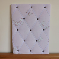 Handmade Laura Ashley Lilac Bella Fabric Memo Board, White Elastic Straps