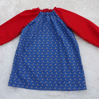 Older Childs Art Smock in Blue Boats with Red Sleeves Fabric Coverall Bib 4-6yrs