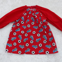 Younger Childs Art Smock in Red Football with Red sleeves Coverall Bib 6m-3yrs