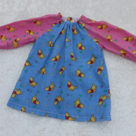 Younger Childs Art Smock in Pink & Blue Winnie the Pooh Coverall Bib 6m-3yrs