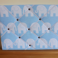 Landscape Fabric Memo Board in Blue Elephant Fabric with White Elastic Straps