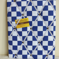 Handmade Fabric Memo Board in Blue Check, with White Elastic Straps
