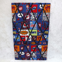 Larger Handmade Memo Board in Blue Superhero Fabric Black Elastic Straps