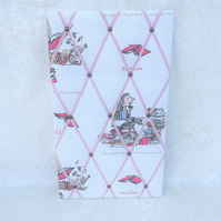 Larger Handmade Memo Board in Roald Dahl Matilda with Pink Elastic Straps