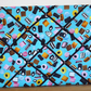 Landscape Memo Board in Blue Liquorice Allsort Fabric with Black Elastic Straps