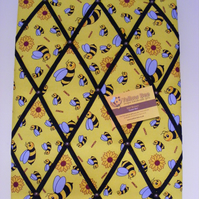 Yellow Bee Memo Board in Yellow Bee Fabric with Black Elastic Straps