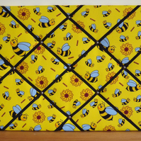 Landscape Yellow Bee Memo Board in Yellow Bee Fabric with Black Elastic Straps