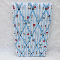 Larger Handmade Baking Memo Board in Love Baking Fabric with Blue Elastic Straps