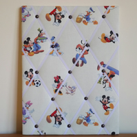 Pluto Fabric Memo Board in Mickey Mouse Fabric with White Elastic Straps