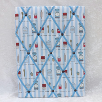 Baking Fabric Memo Board in Love Baking Fabric with Blue Elastic Straps