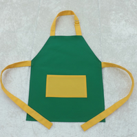 Handmade Younger Childs Adjustable Apron in Green with Yellow Fabric 2-5 yrs