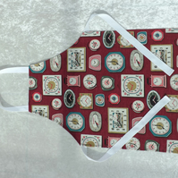 Handmade Older Childs Apron in Cath Kidston Red Clocks 5-11 yrs