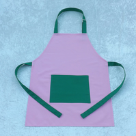 Handmade Older Childs Adjustable Apron in Pink with Green Fabric 5-11 yrs