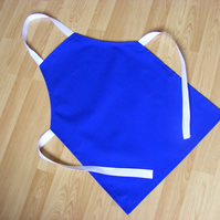 Handmade Older Childs Apron in Royal Blue Polycotton Drill Fabric 5-11 yrs