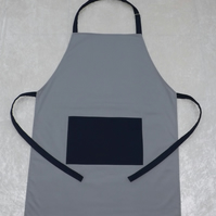Handmade Butcher Style Adult Adjustable Apron in Grey & Navy Polycotton Drill