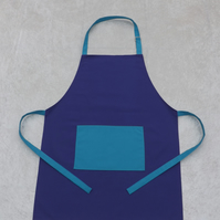 Handmade Adult Adjustable Apron in Purple with Turquoise Polycotton Drill