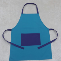 Handmade Adult Adjustable Apron in Turquoise with Purple Polycotton Drill