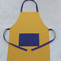 Handmade Adult Adjustable Apron in Yellow with Purple Polycotton Drill