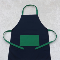 Handmade Adult Adjustable Apron in Navy with Green Polycotton Drill