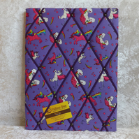 Purple Unicorn Fabric Memo Board in Unicorn Fabric with Purple Elastic Straps