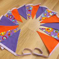 3m 15 flag Purple Butterfly Caterpillars & Sun, Purple and Orange fabric bunting