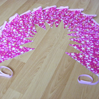 3m 15 flag Handmade Bright Pink Stars traditional fabric bunting