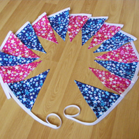 3m 15 flag Handmade Bright Pink and Blue Stars traditional fabric bunting