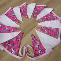 3m 15 flag Pink Zebra with pale pink traditional fabric bunting