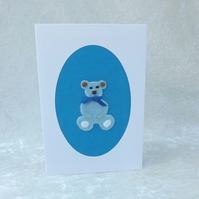 Handmade Fabric & Felt Card - Blue Teddy Felt & Fabric Card Teddy Bear Card